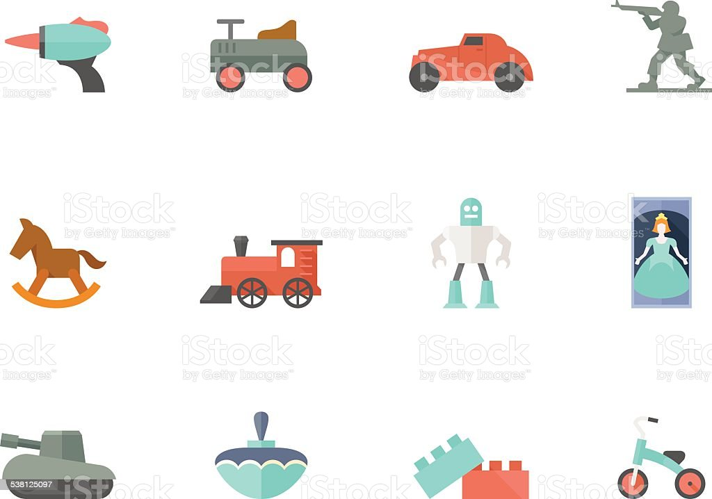 Flat Color Icons - Toys vector art illustration