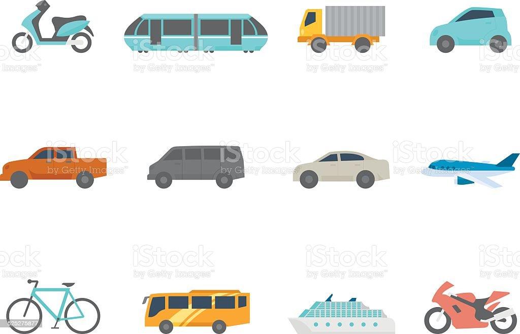 Flat Color Icons - Transportation vector art illustration