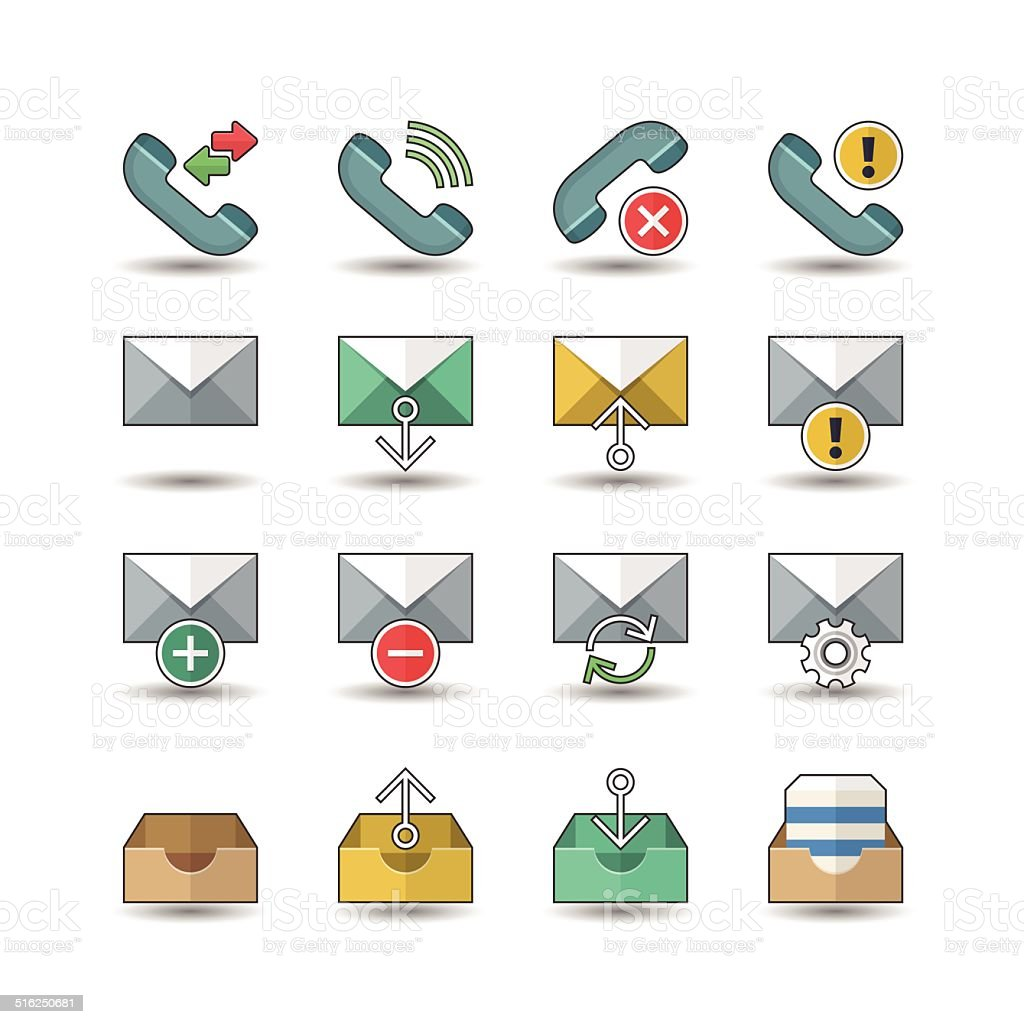 Flat color style Web & Mobile interface icons set vector art illustration