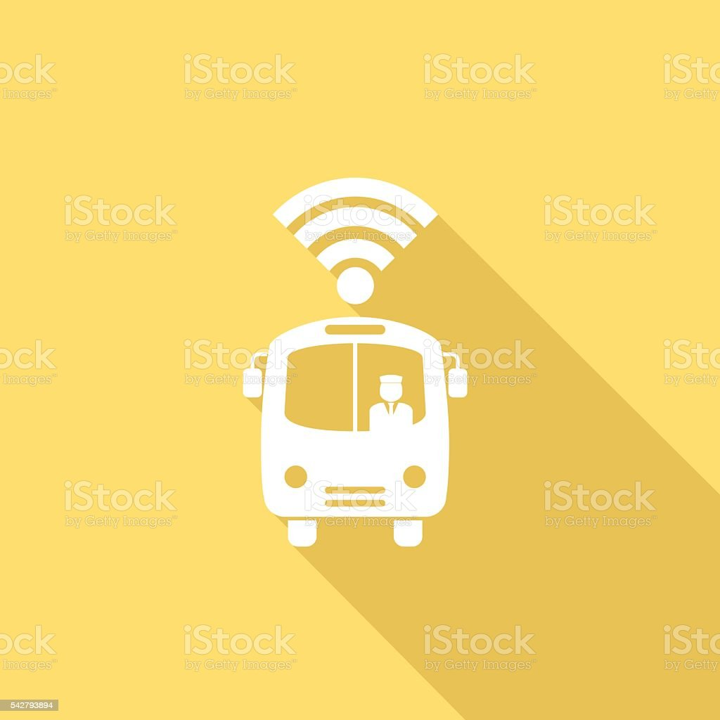 Flat Color UI Long Shadow Transportation With Cloud Computing vector art illustration