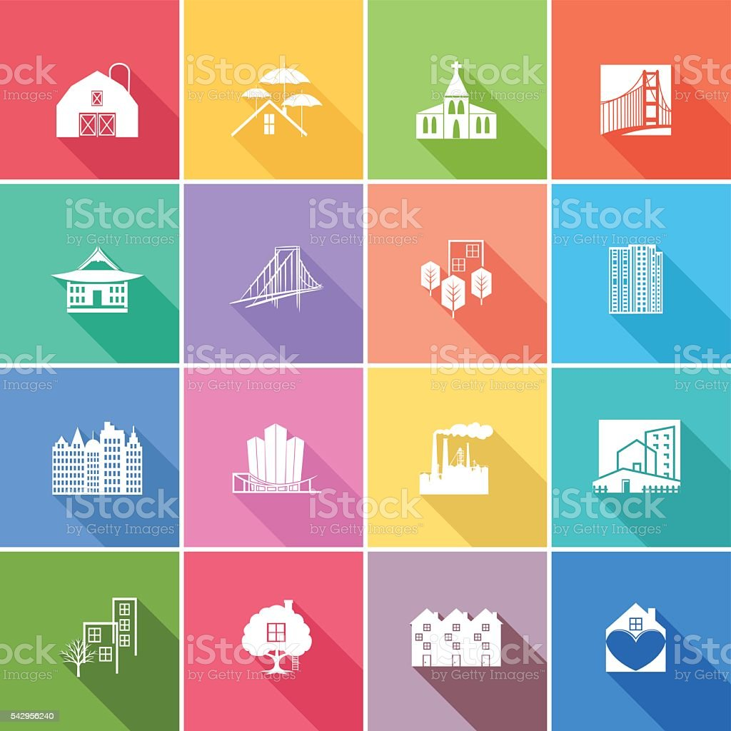 Flat Color UI Long Shadow Website Architecture Icon vector art illustration