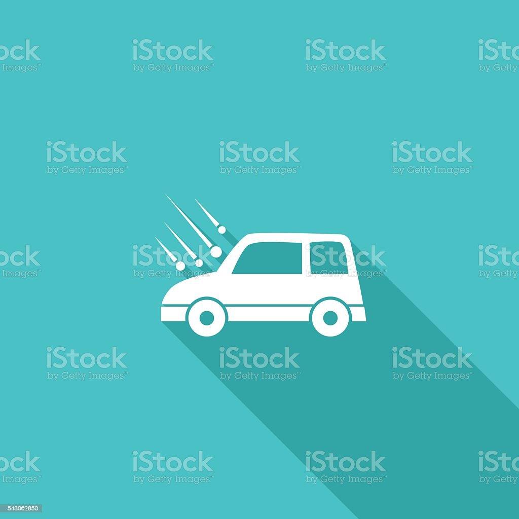Flat Color UI Long Shadow Website Auto Insurance Icon vector art illustration