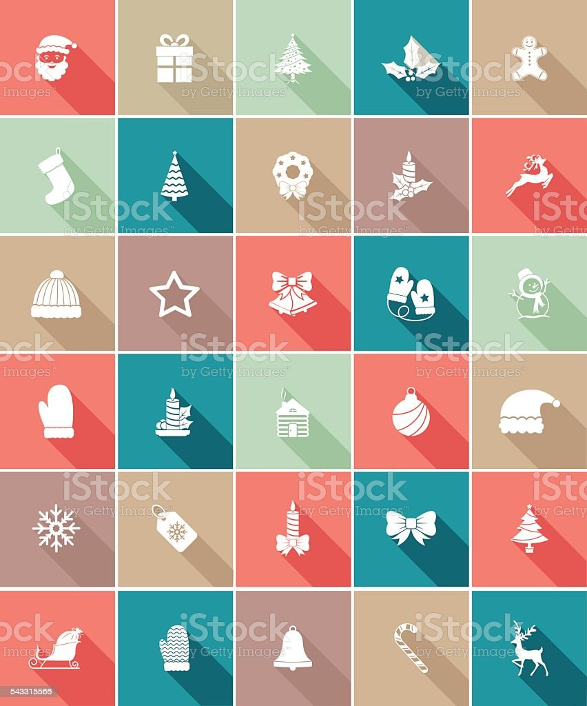 Flat Color UI Long Shadow Website Christmas Icon vector art illustration