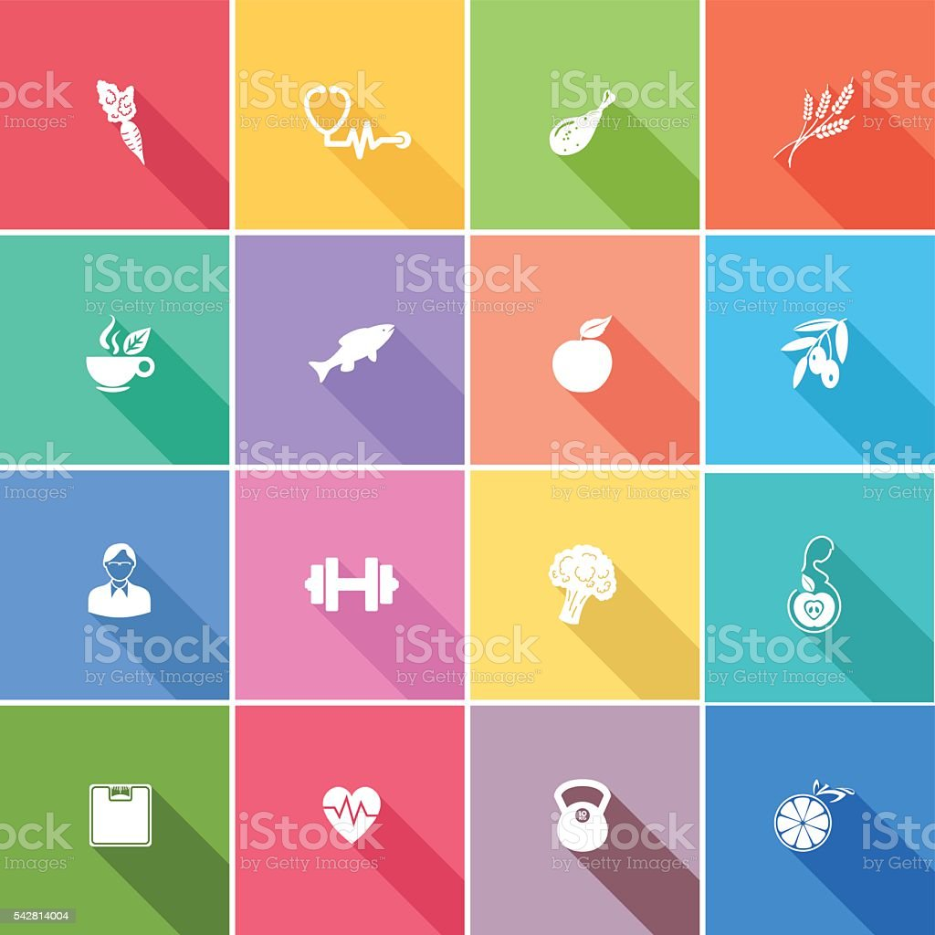 Flat Color UI Long Shadow Website Healthy Lifestyle Icons vector art illustration