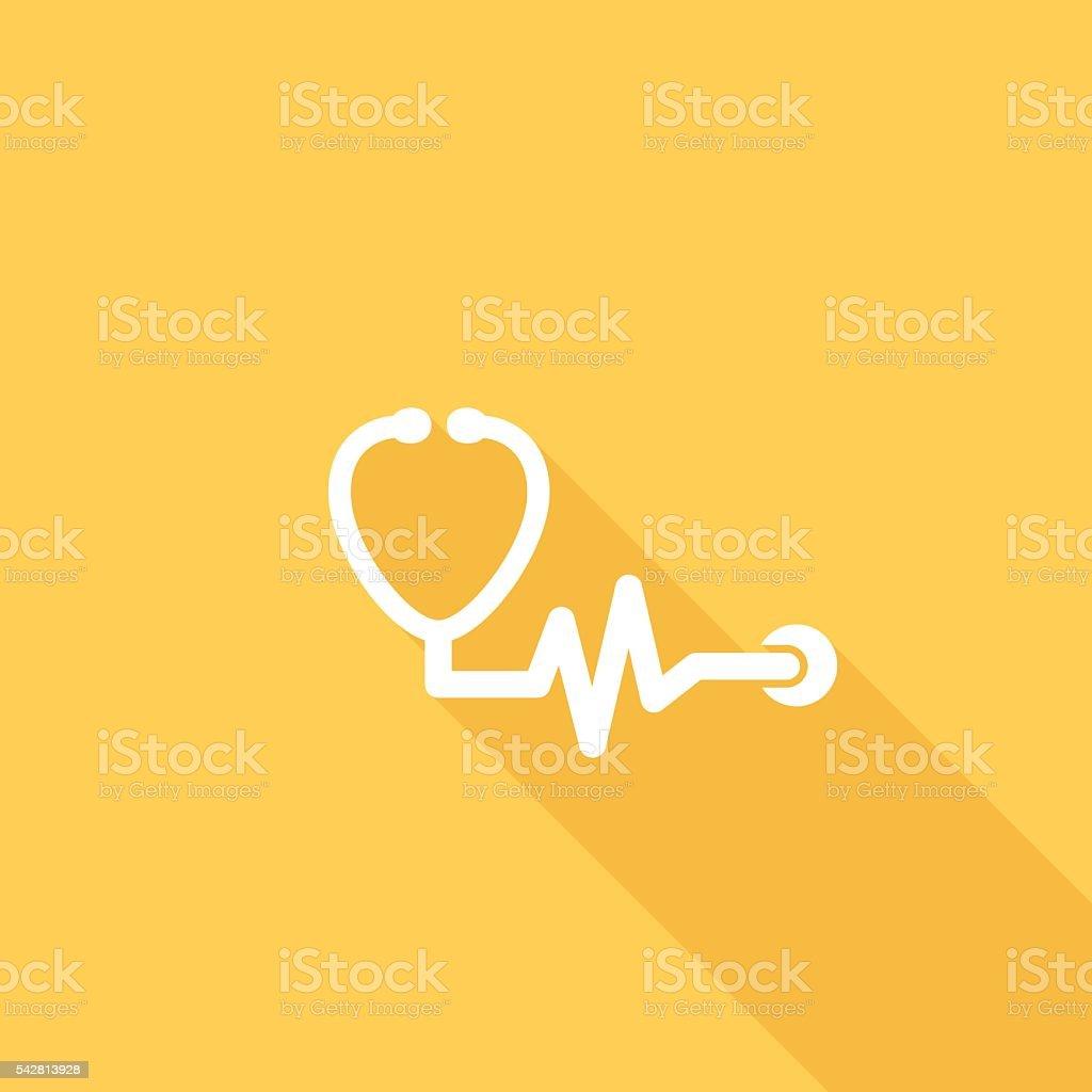 Flat Color UI Long Shadow Website Healthy Living Icon vector art illustration