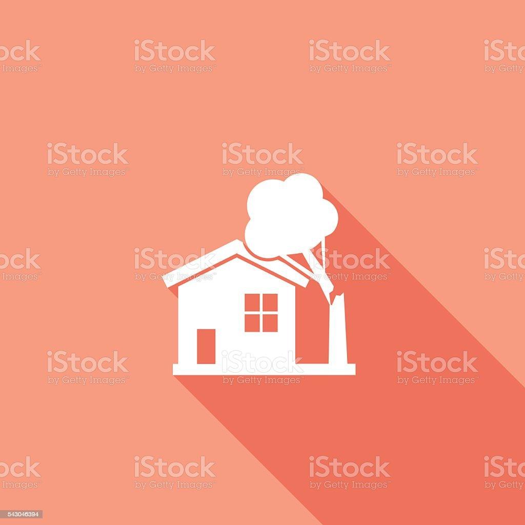 Flat Color UI Long Shadow Website Home Insurance Icon vector art illustration