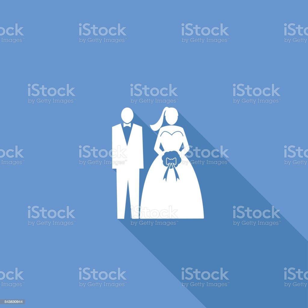 Flat Color UI Long Shadow Website Wedding Icon vector art illustration