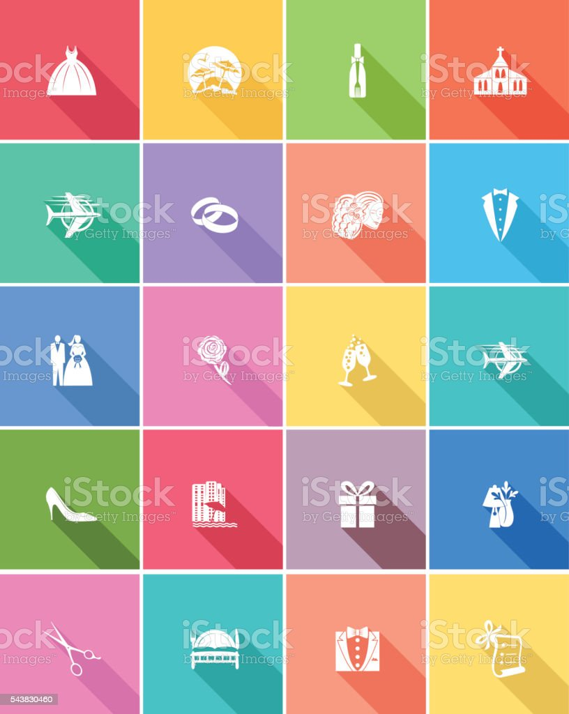 Flat Color UI Long Shadow Website Wedding Icons vector art illustration