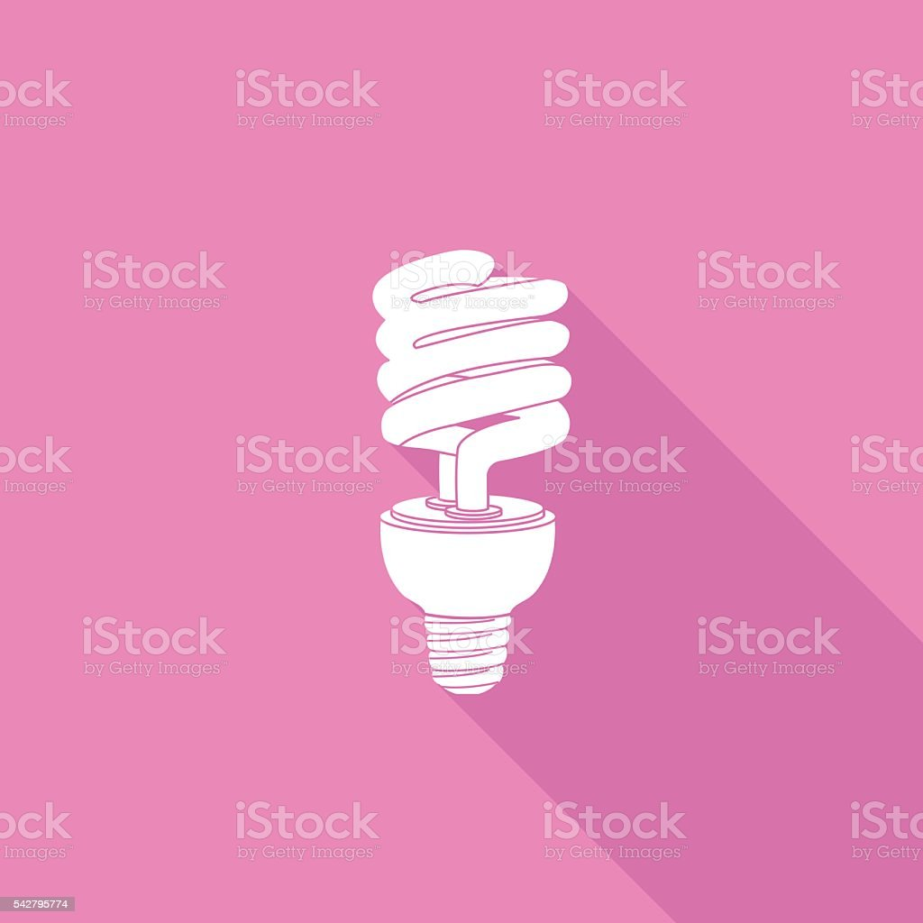 Flat Color UI Long Shadow With CFL Light Bulb vector art illustration