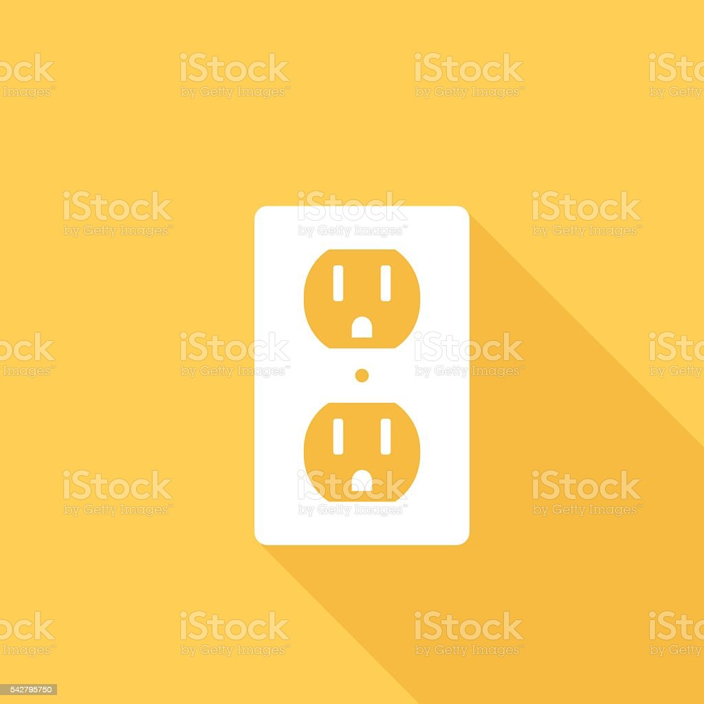 Flat Color UI Long Shadow With Electric Outlet vector art illustration