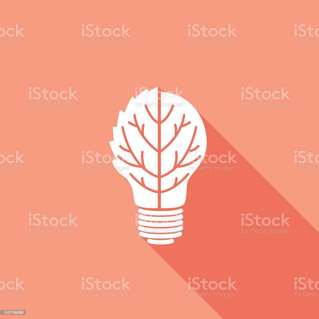 Flat Color UI Long Shadow With Light Bulb vector art illustration