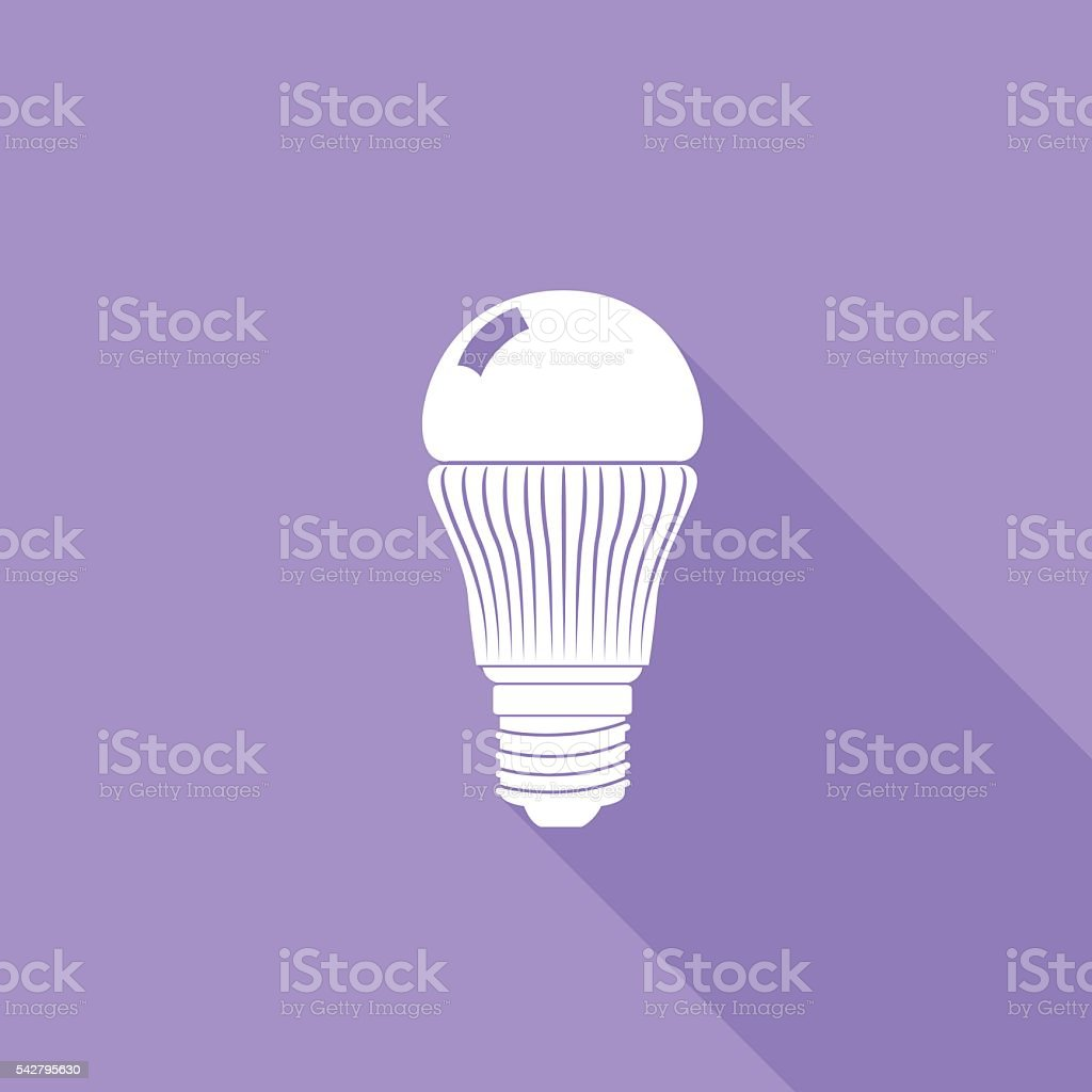 Flat Color UI Long Shadow With Light Bulb vector art illustration