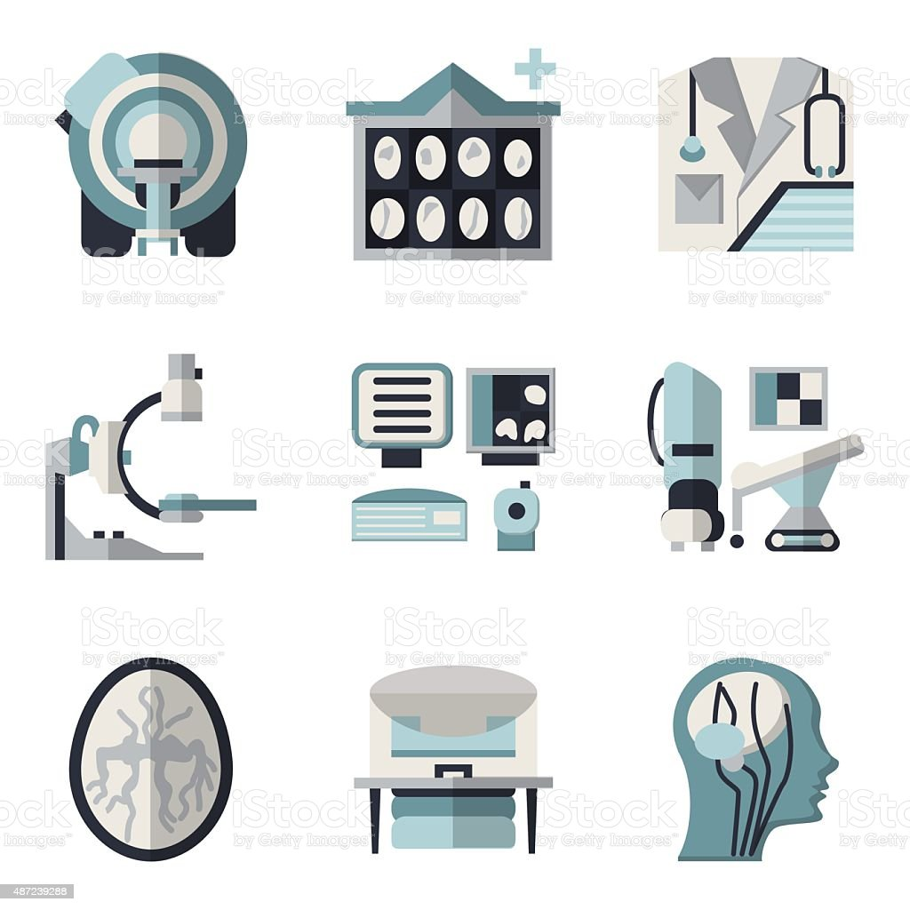 Flat color vector icons for CT scan. MRI vector art illustration