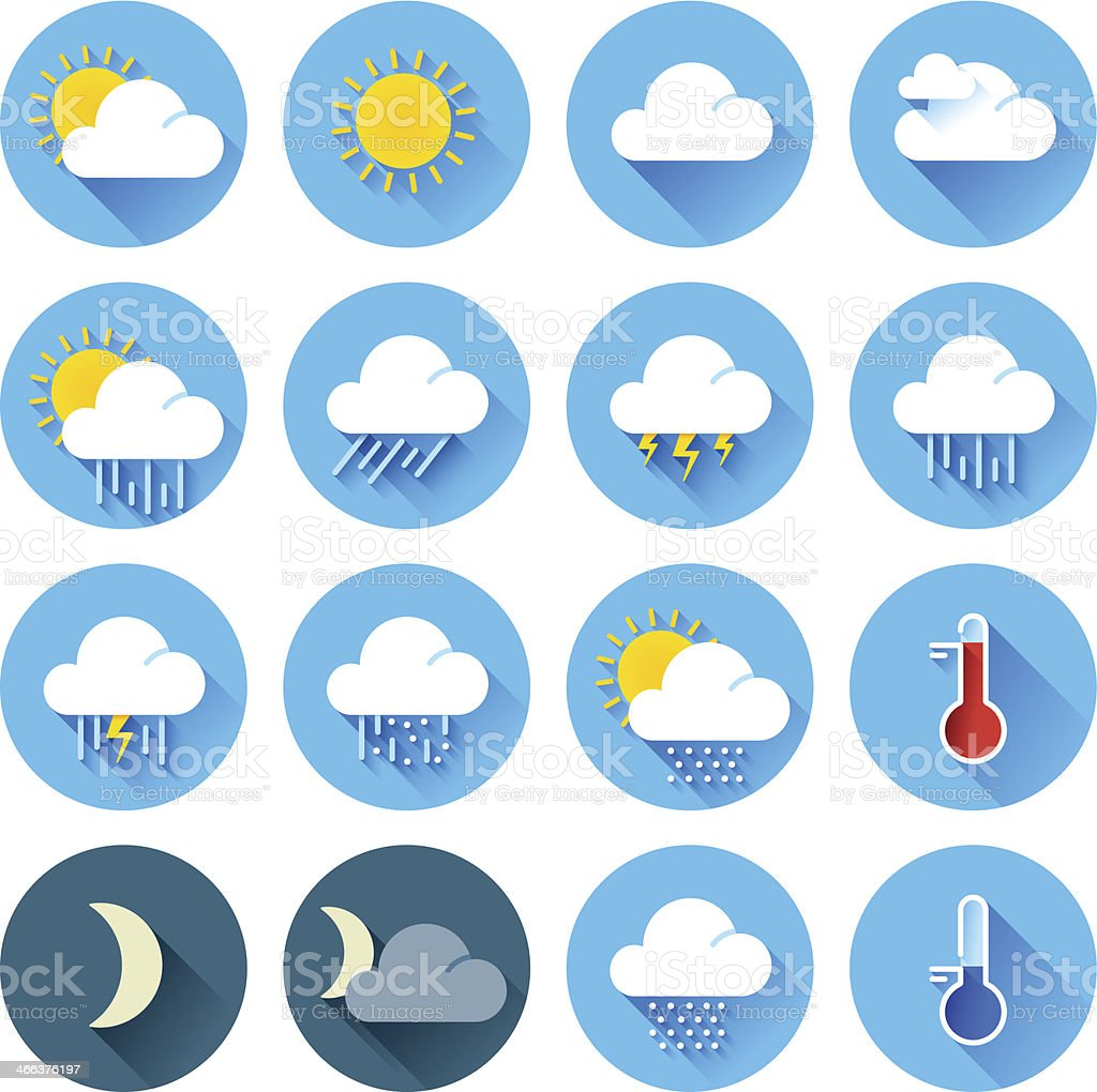 Flat color weather icons vector art illustration