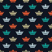 Flat colored crowns. Seamless pattern for new year.