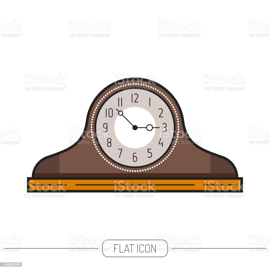 Flat colored mantel clock isolated on white background. Vector vector art illustration