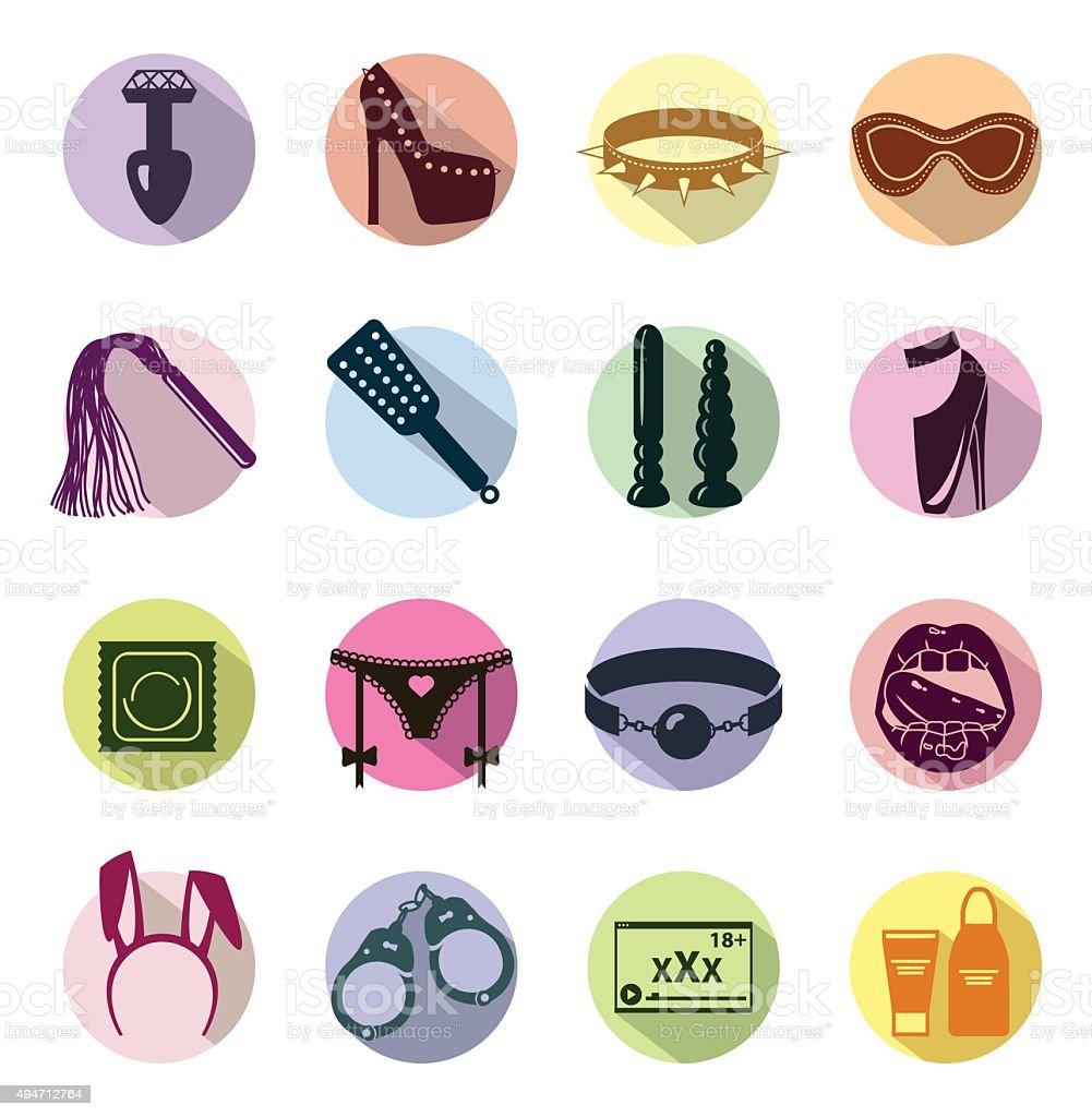 Flat colored Sex shop icon set, sex toys, bdsm, vector vector art illustration