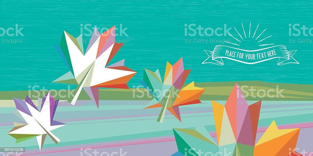 flat colorful fall illustration with colorful leaf vector art illustration