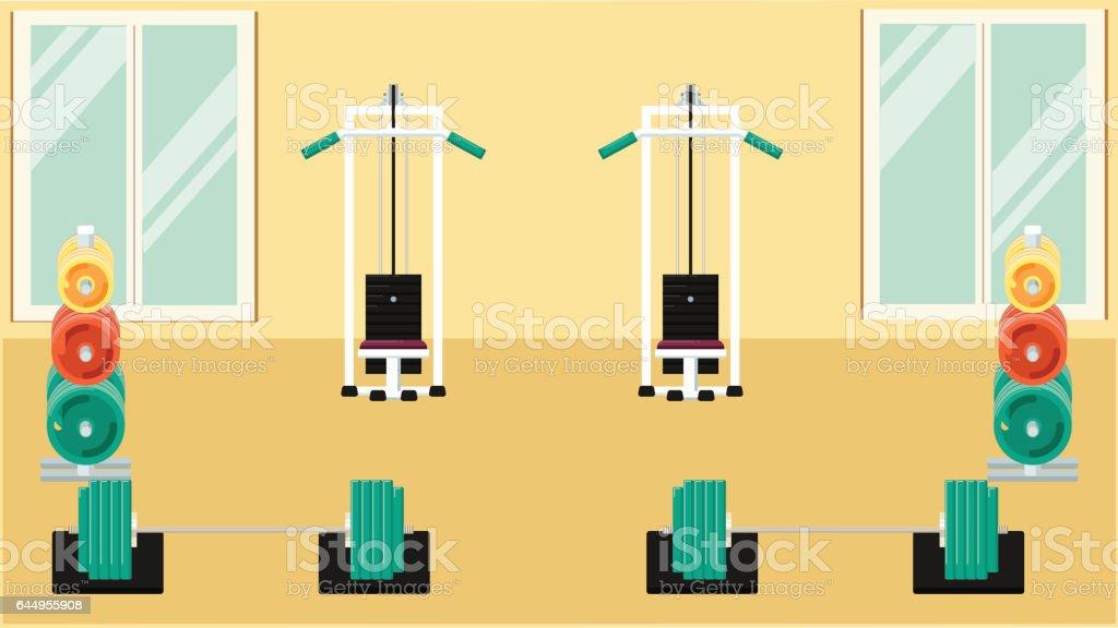 Flat colorful gym vector art illustration