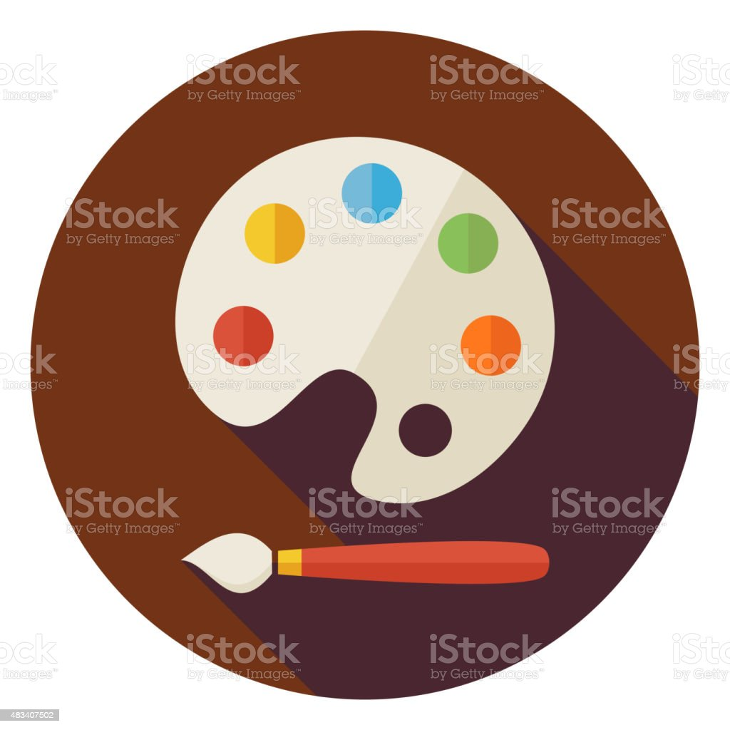 Flat Colorful Palette with Paintbrush Circle Icon with Long Shad vector art illustration