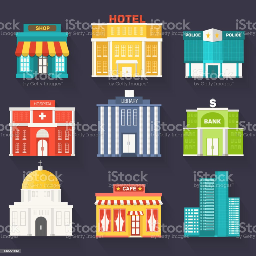 Flat colorful vector sity buildings set. Icon background concept design vector art illustration