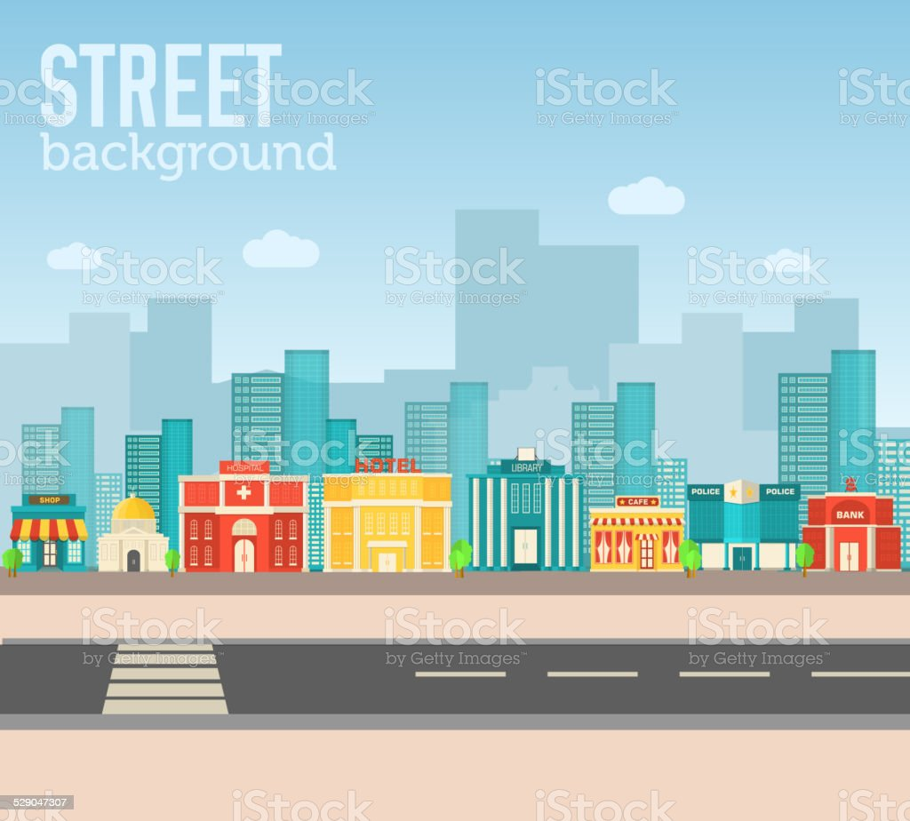 Flat colorful vector sity buildings set. Icons background concept design vector art illustration