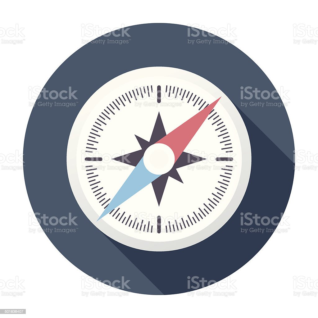 Flat Compass Icon vector art illustration