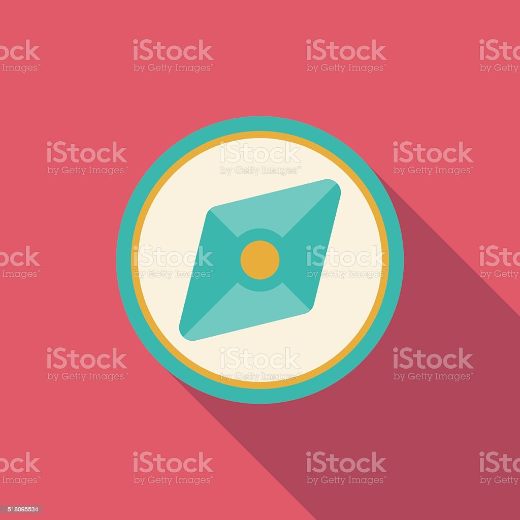 flat compass icon vector art illustration