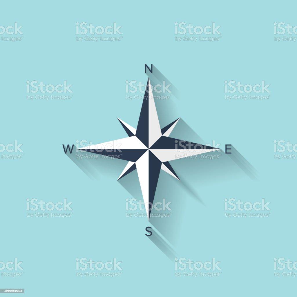Flat compass web symbol vector art illustration
