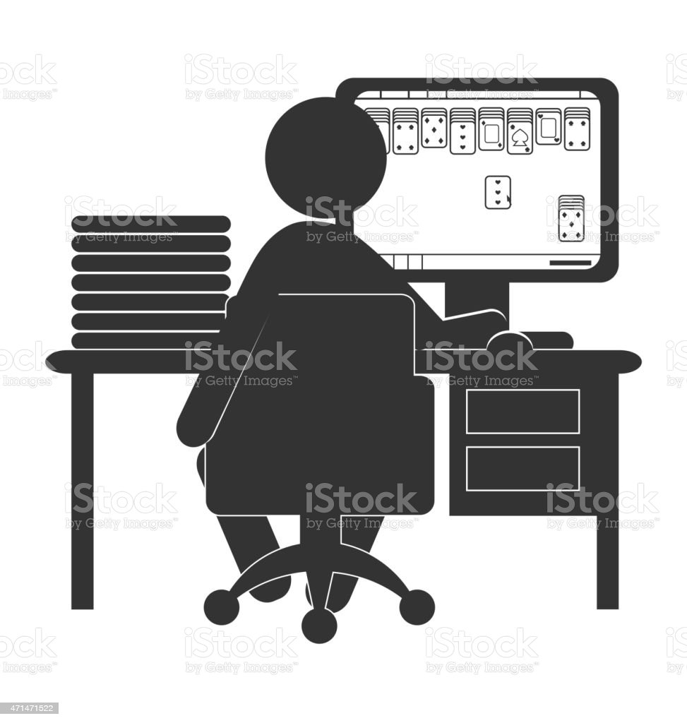 Flat computer icon with card game isolated on white vector art illustration