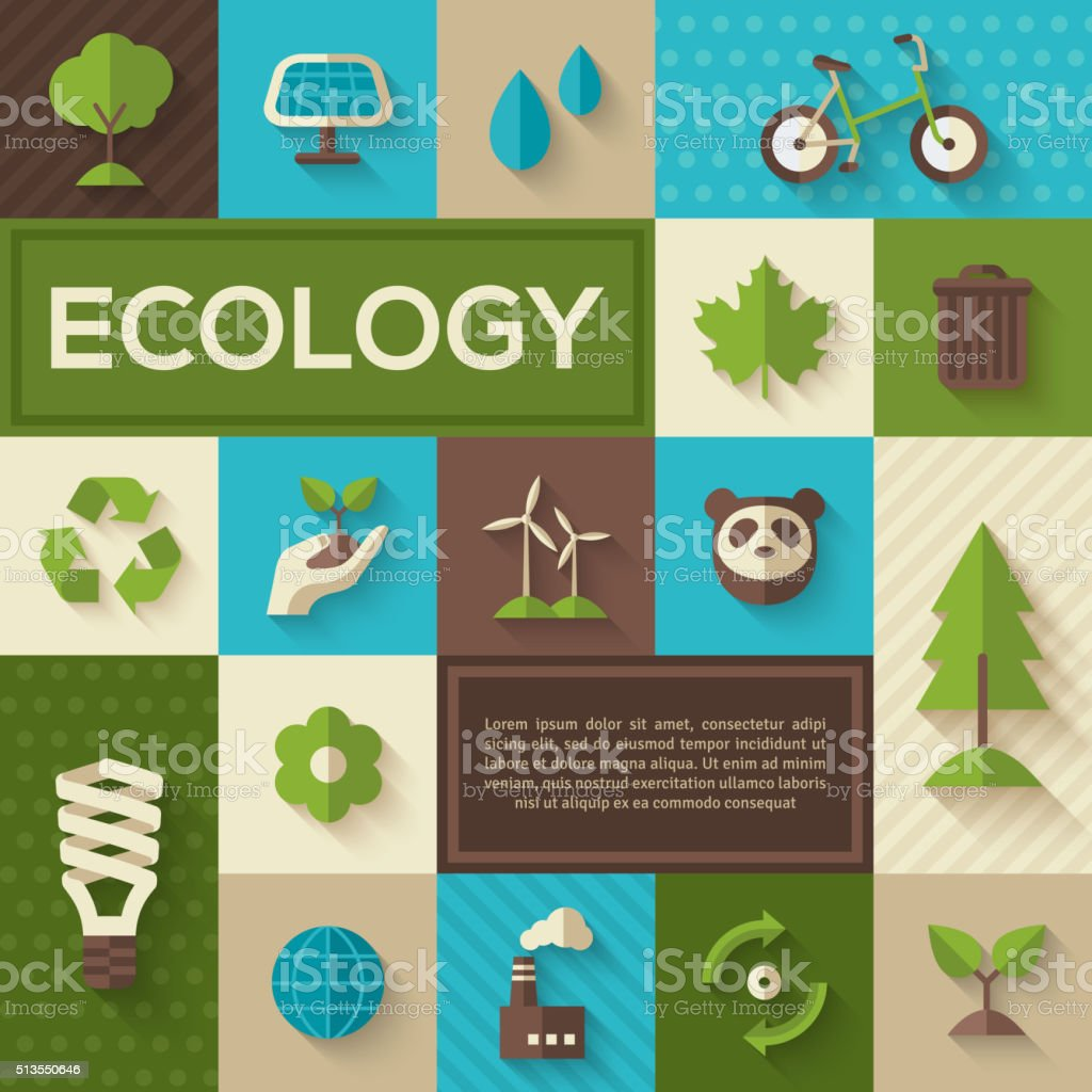 Flat concept icons of ecology vector art illustration