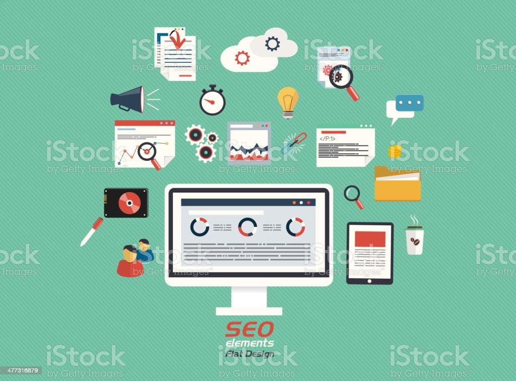 Flat concept of seo process royalty-free stock vector art