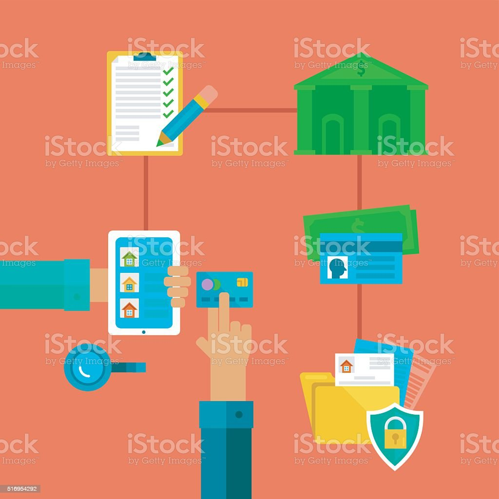 Flat concept of taking credit for purchasing a house. vector art illustration