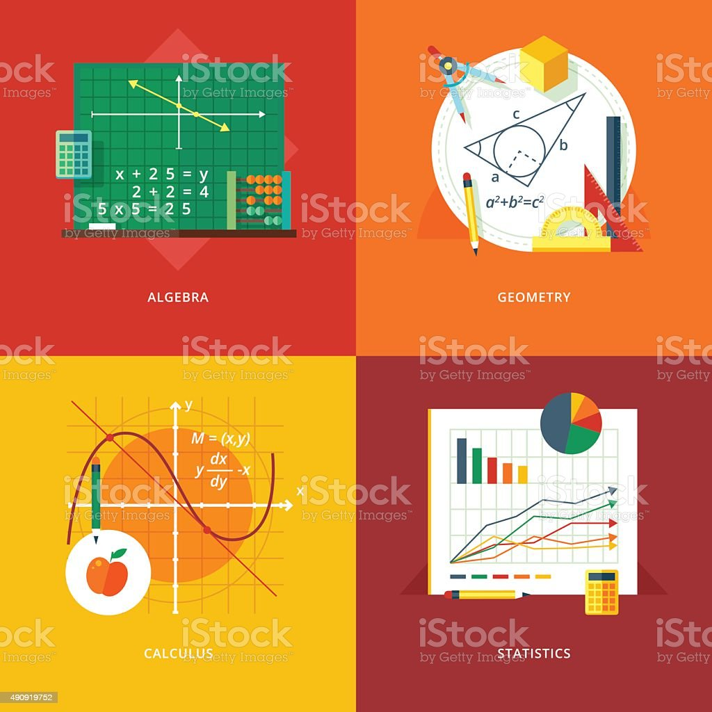 Flat concepts for algebra, geometry, calculus, statistics.  Education and knowledge. vector art illustration