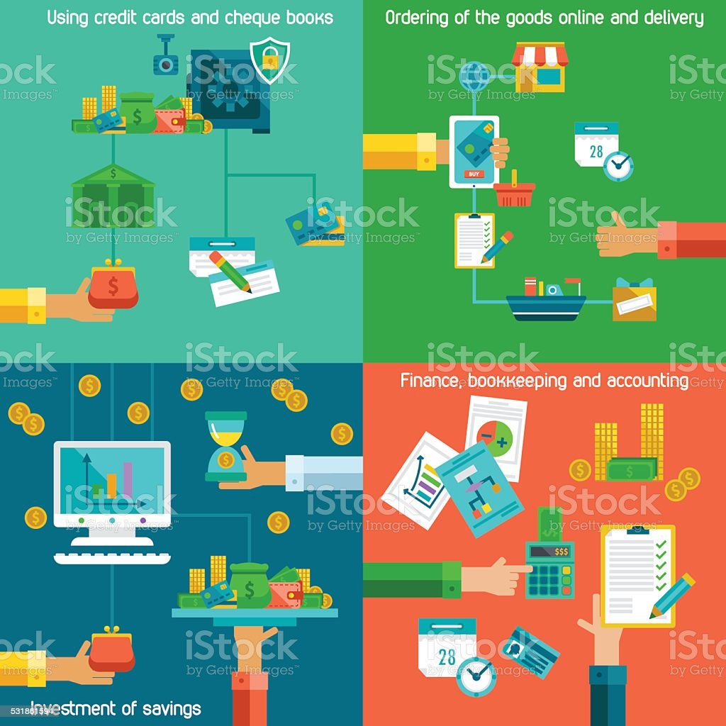 Flat concepts for banking and accounting set. vector art illustration