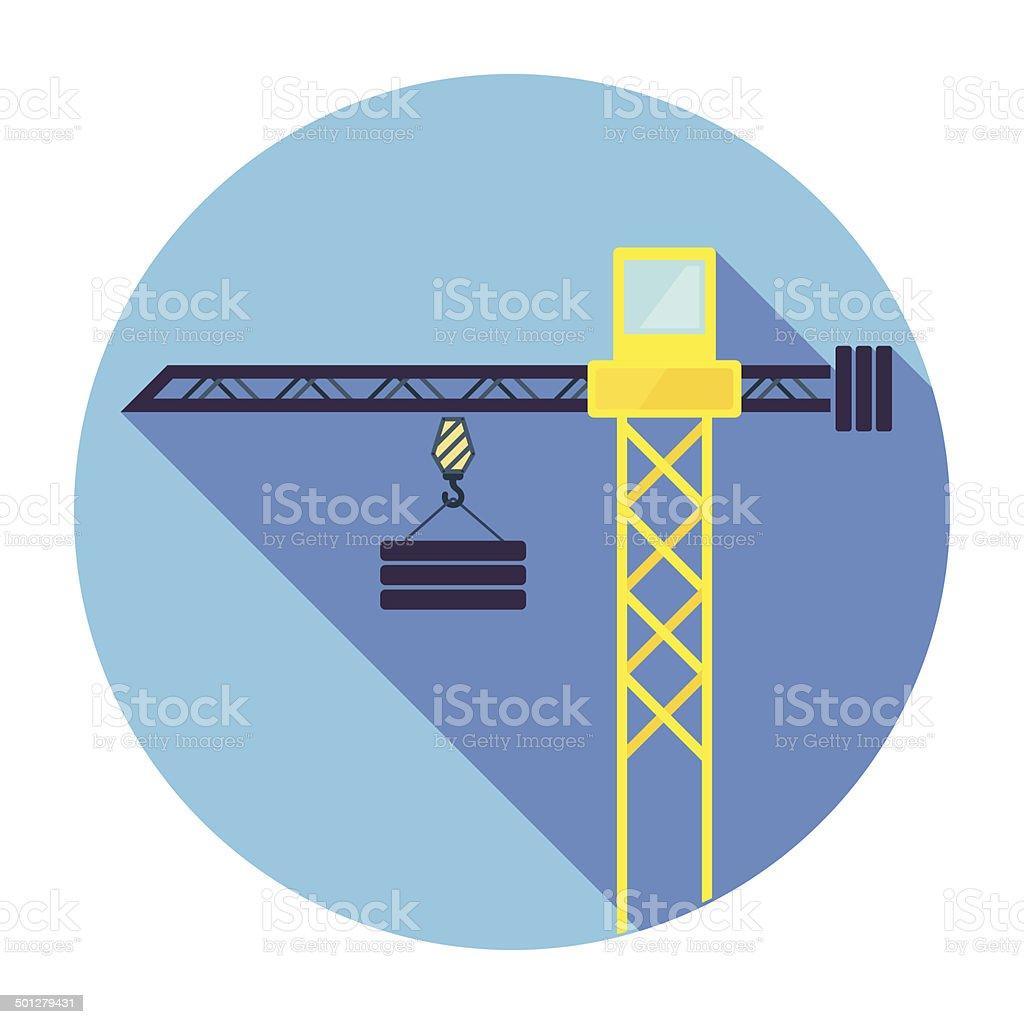 Flat Crane Icon vector art illustration