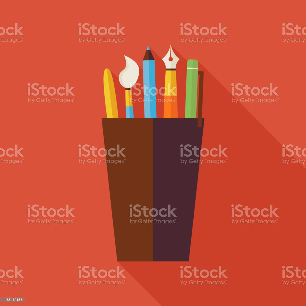 Flat Cup with Office Writing Supplies Tools Illustration with Shadow vector art illustration