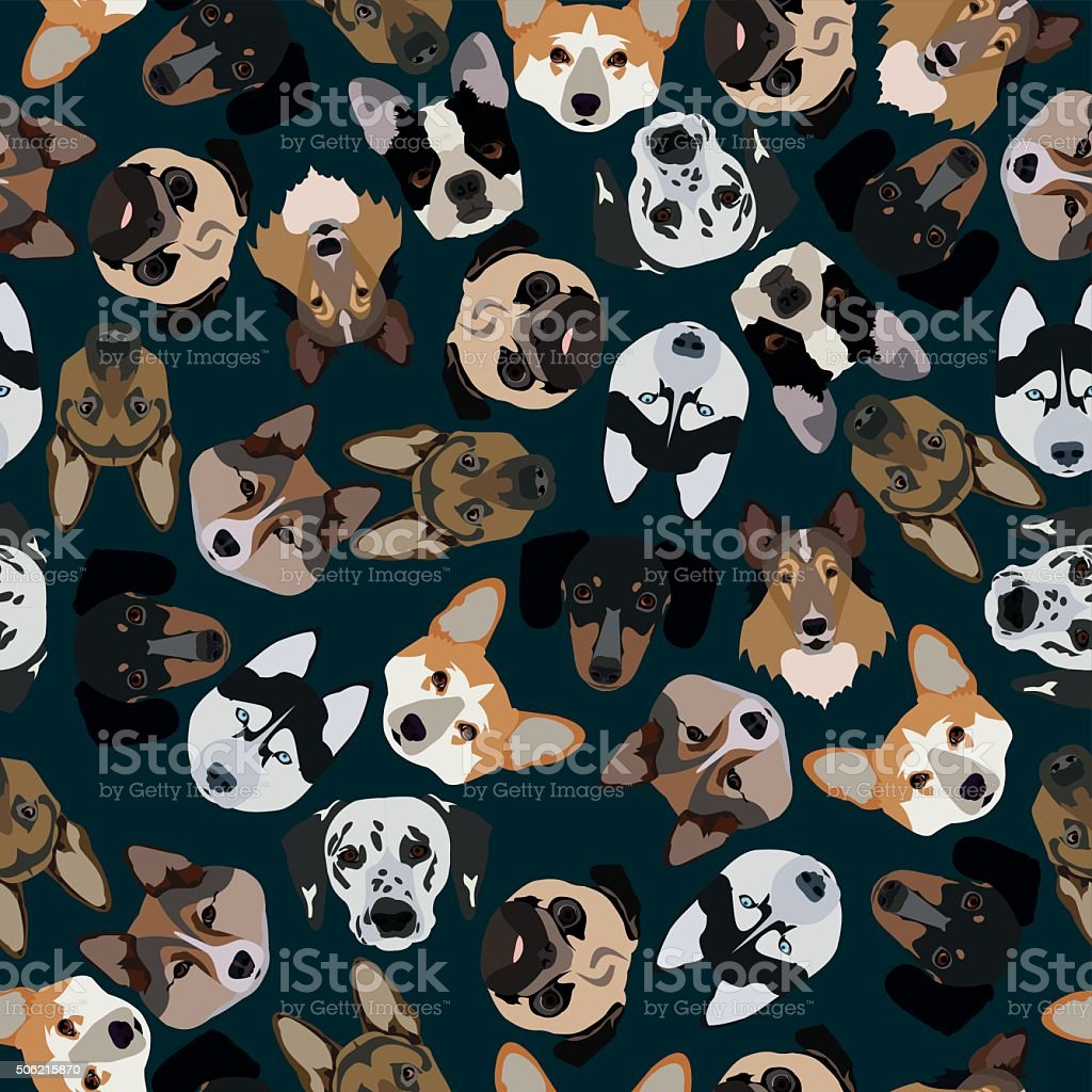 flat dark seamless pattern pedigree dogs vector art illustration