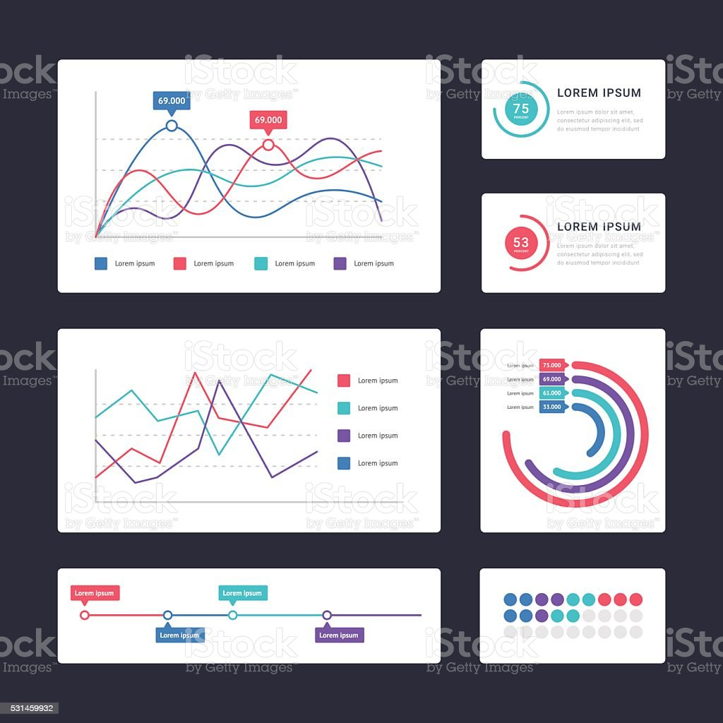 Flat dashboard ui vector art illustration