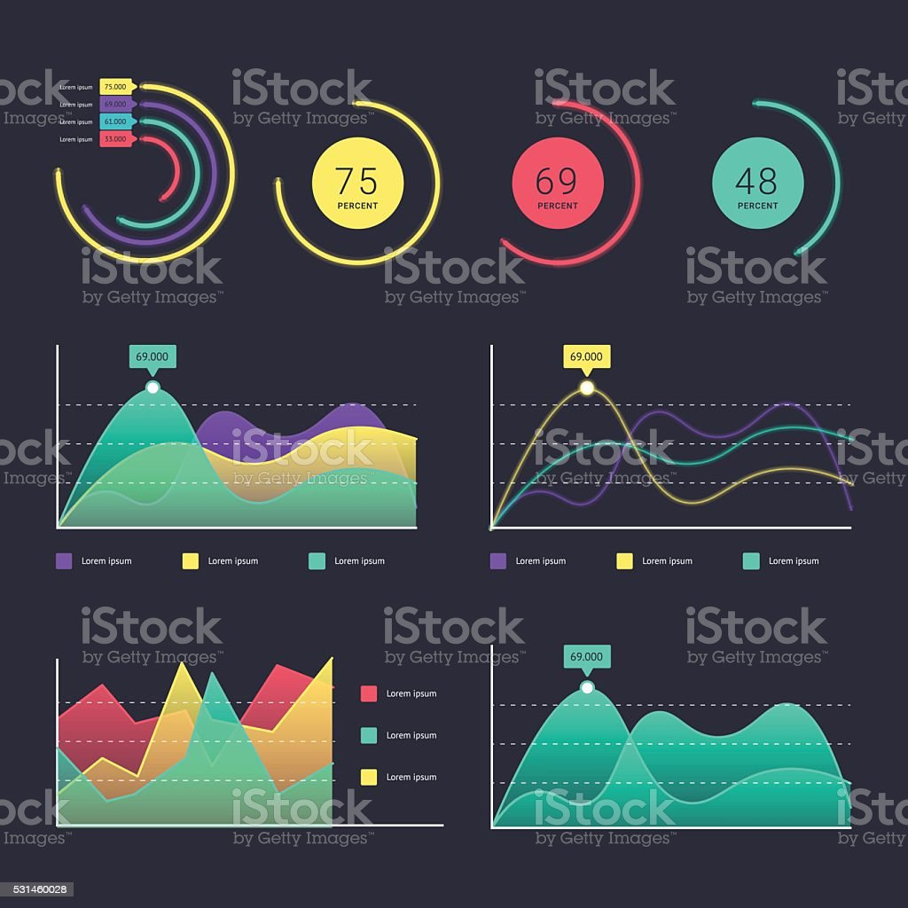 Flat dashboard ui vector art illustration