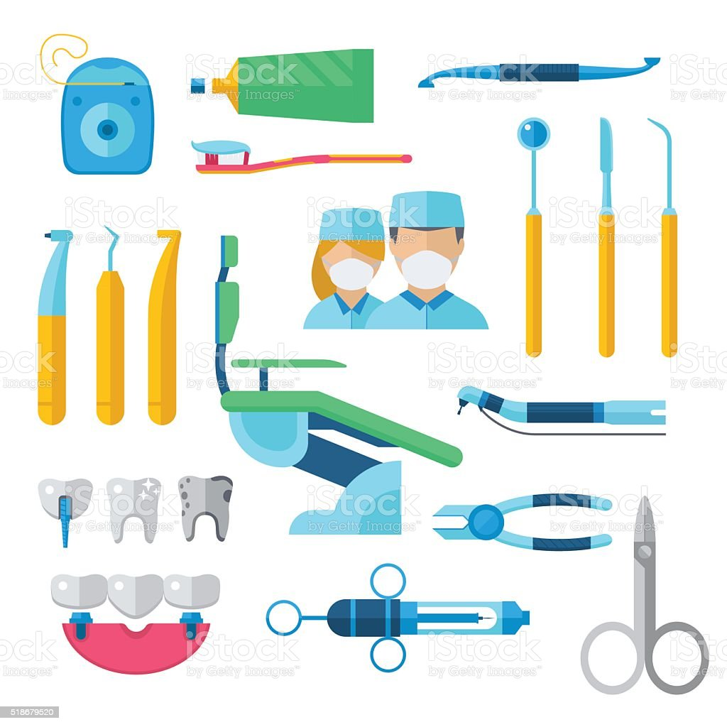 Flat dental instruments set dentist tools concept vector illustration vector art illustration