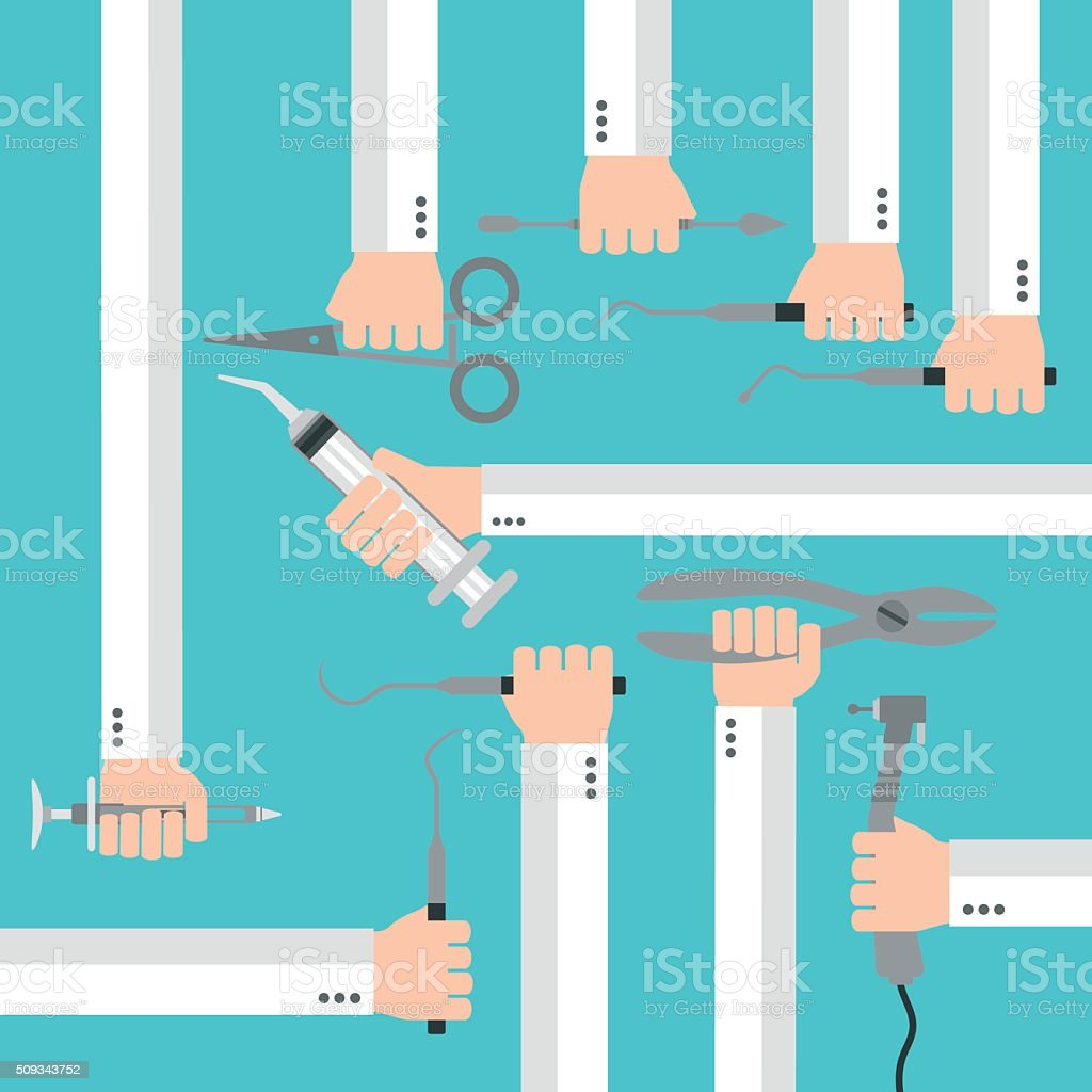 Flat dental instruments set design concept with hands vector art illustration