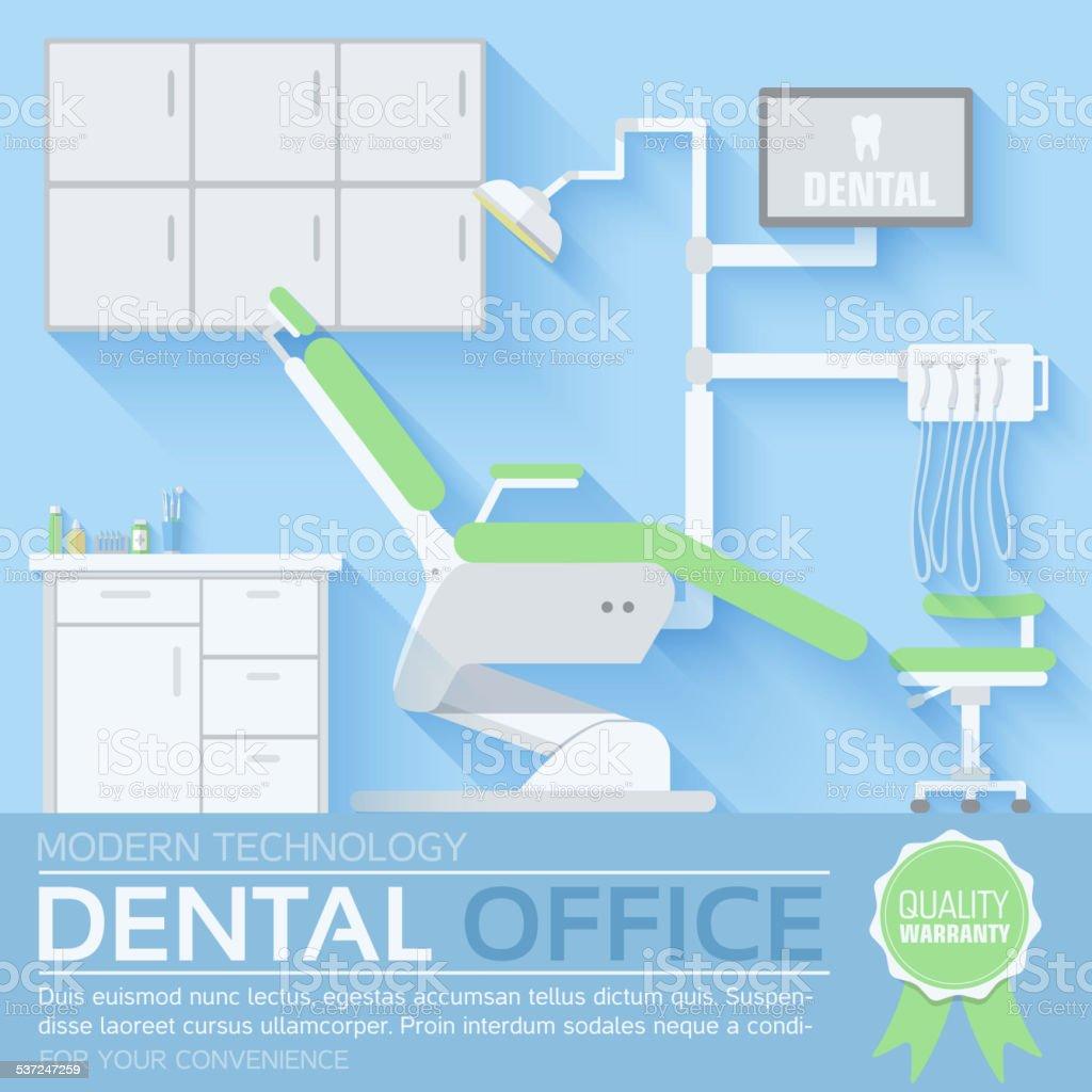 flat dentist office illustration design background vector art illustration