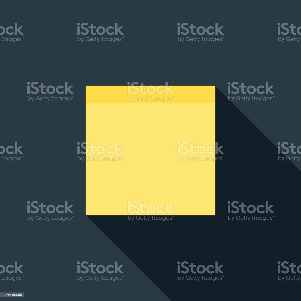 Flat Design Adhesive Paper Note Icon With Long Shadow vector art illustration