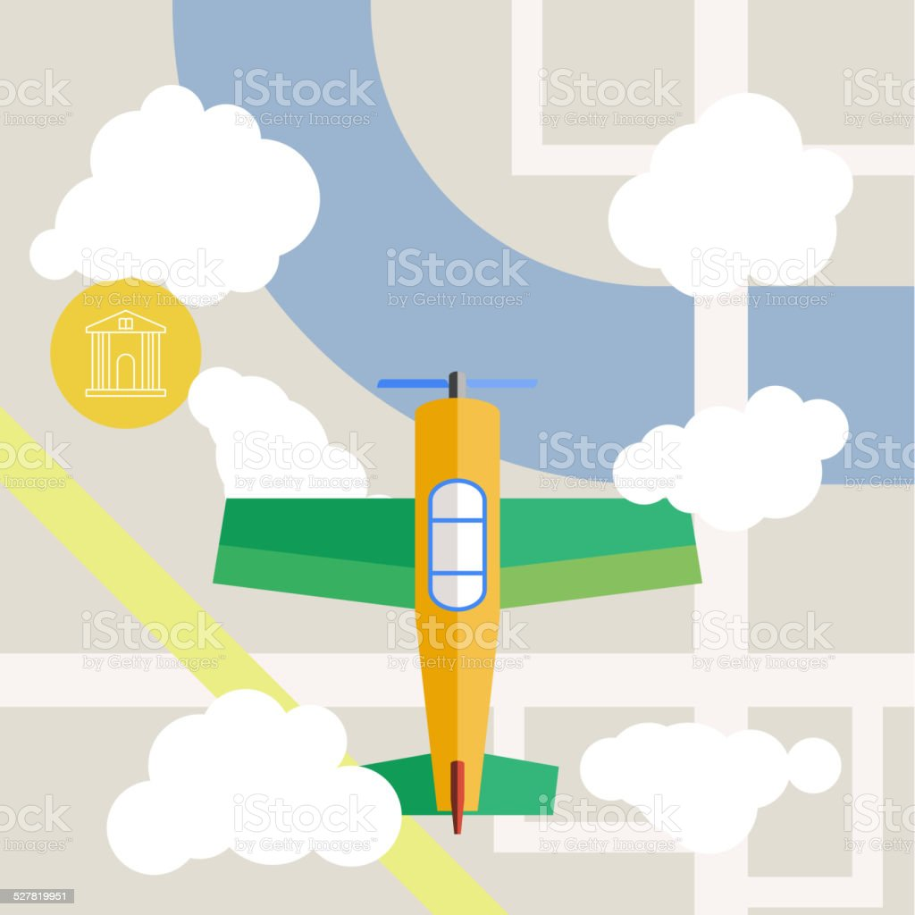 Flat design airplane above city vector vector art illustration