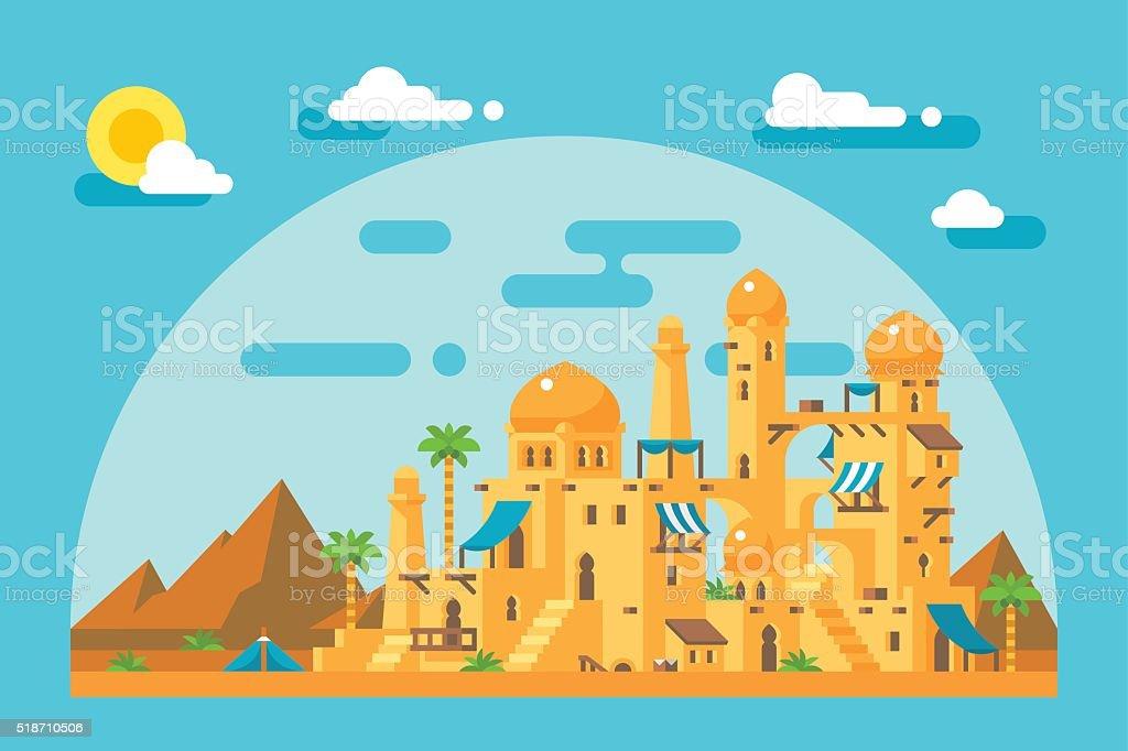 Flat design arab mud village vector art illustration