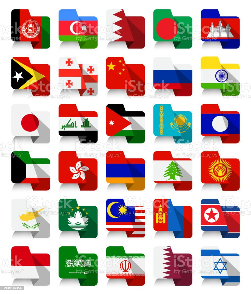 Flat Design Asian Waving Flags vector art illustration
