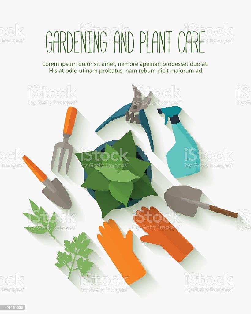 Flat design banner for gardening and plant care. vector art illustration