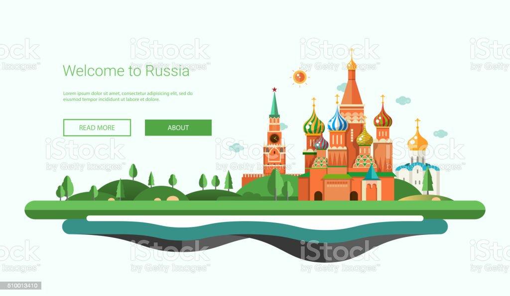 Flat design banner, header travel illustration with Russian landscape vector art illustration