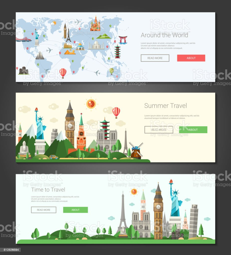 Flat design banners, headers set illustration with world famous landmarks vector art illustration